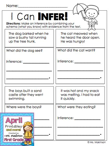 April Printables  First Grade Literacy And Math  Making Inferences, Inference And Literacy