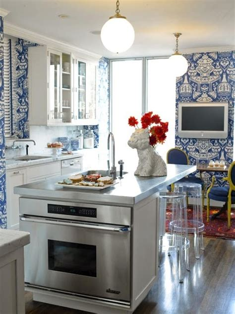 kitchen design pictures cabinets best 25 blue and white wallpaper ideas on 7958