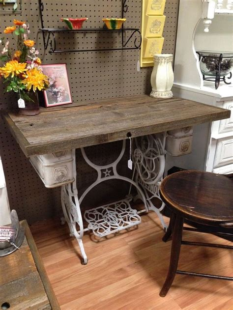 rustic wood table top singer sewing machine table