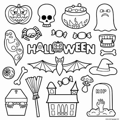 Halloween Coloring Patches Pages Objects Stickers Printable