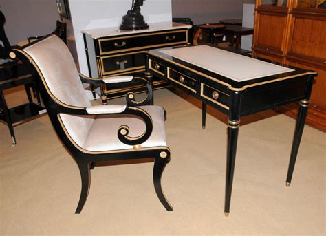 regency black lacquer writing desk chair set ebay