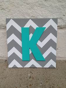 Square chevron canvas with painted letter craft room for Letter canvas