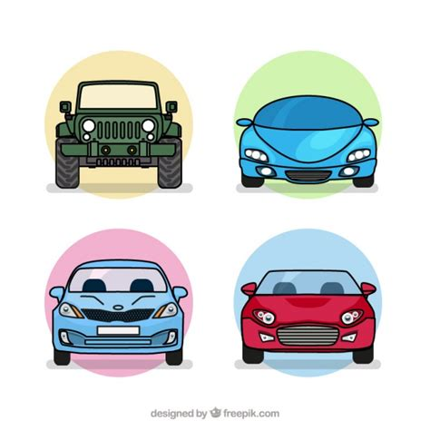 Four Types Of Cars Pack Vector