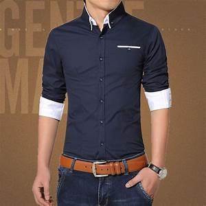 2015 New Brand Mens Dress Shirts Long Sleeve Casual Shirt ...