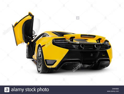 Yellow 2014 Mclaren 12c Supercar With Open Butterfly Door