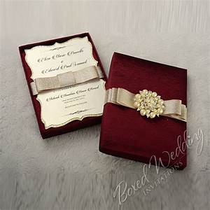 couture wedding invitation box with pearl brooch With wedding invitation boxes sydney