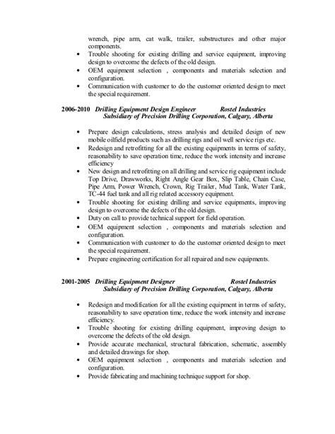 Junior Drilling Engineer Resume by Resume Senior Drilling Equipment Engineer Linked In