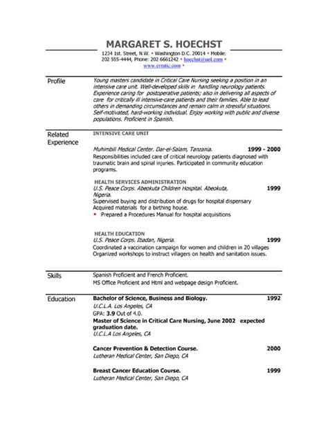 exle of resume resume exles exle of resume by easyjob the best free exle resumes in a single place