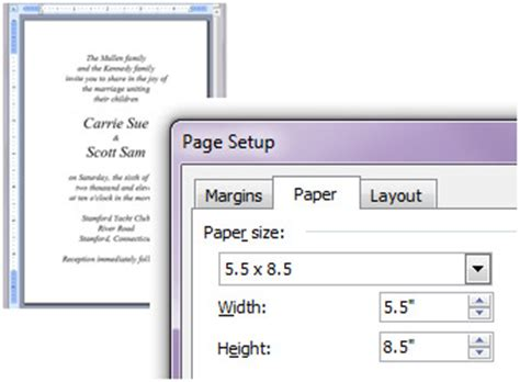 printing invitations   create  custom document size