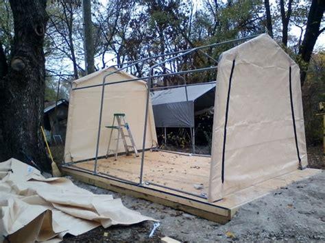 shelterlogic autoshelter  portable garage  tan cover  foot   foot   foot