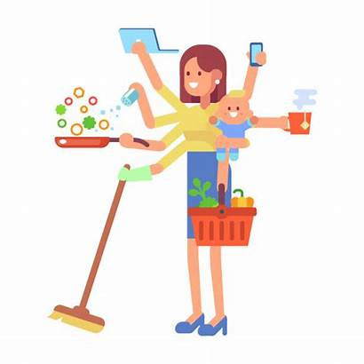 Mom Cooking Mother Alone Working Super Vector