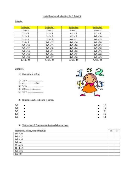 les table de multiplication en chanson exercices tables de multiplication 2 3 4 5 les tables de multiplication 234 et