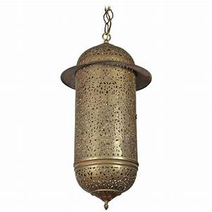 Vintage moroccan brass filigree pendant light fixture at