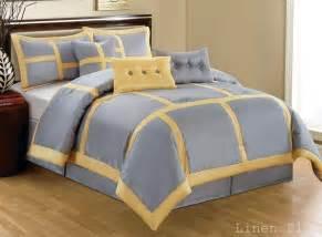 7 piece yellow gray patchwork comforter set queen size 42 42 picclick