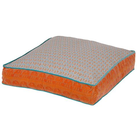 Large Festival Floor Cushion In Orange, French Bedroom Company