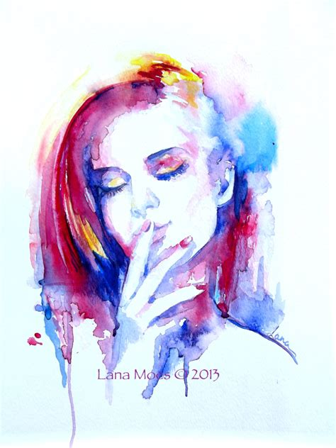 original watercolor painting abstract portrait watercolor by