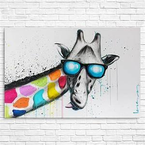 Giraffe Colourful Canvas Print Animals Pop Art Graffiti ...
