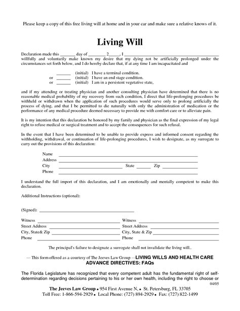 free living will template wills george tull mobile notary