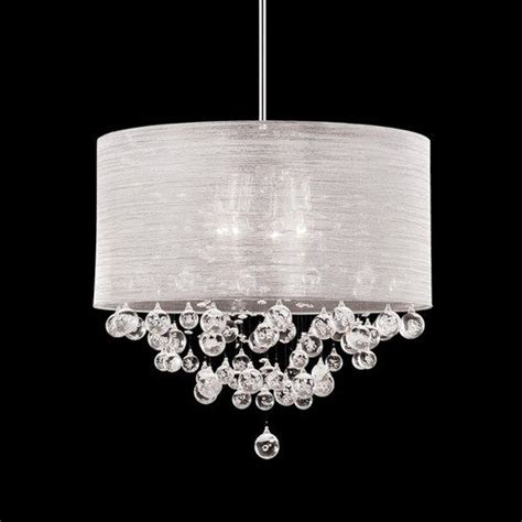 new 4 lite chandelier silk silver drum shade