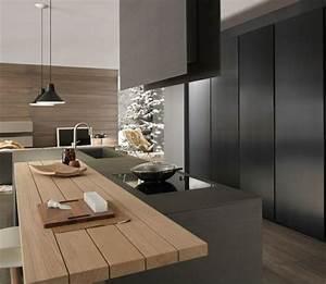 Cuisine noire et bois un espace moderne et intrigant for Idee deco cuisine avec meuble en bois