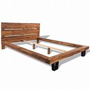 Lit En Bois : acheter vidaxl cadre de lit bois d 39 acacia massif 140 x 200 ~ Melissatoandfro.com Idées de Décoration