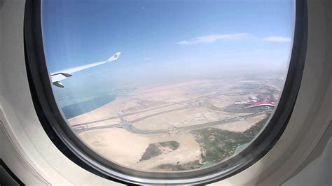 View From Plane Window Abu Dhabi Airport And Ferrari World