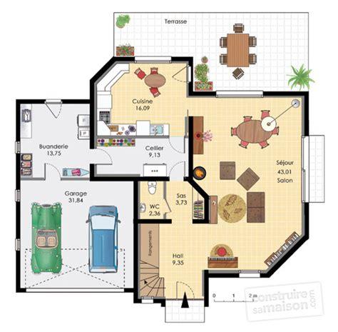 am駭agement cellier cuisine maison aux volumes asym 233 tiques d 233 du plan de maison