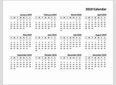 Printable Calendar 2019 PDF, Word, Excel Template
