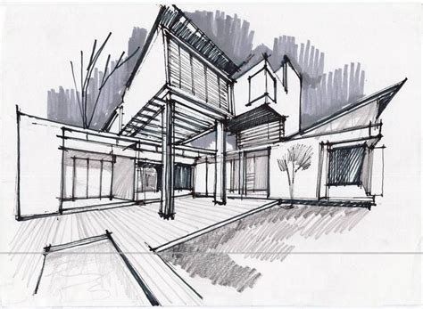 Pencil And In Color Drawn Bulding Architecture Design