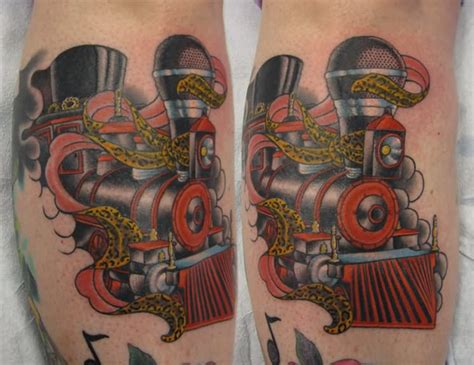 cool train engine tattoo design  leg calf  blackhive