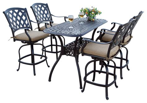 view cast aluminum 5 counter height dining set