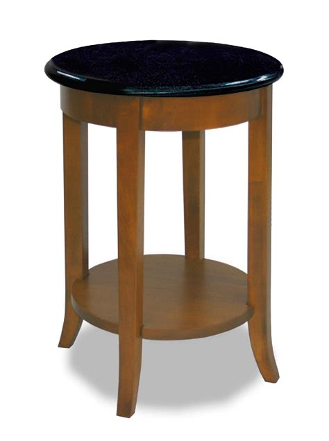 leick black granite end table walnut home