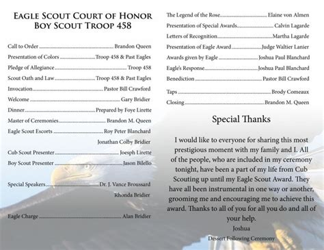 eagle scout ceremony program template 17 best images about eagle court of honors ideas on the ribbon centerpieces and