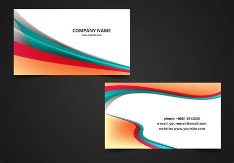 vector wave visiting card background