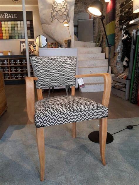 fauteuil bridge bois ann 233 e 50 avec tissu losange noir et