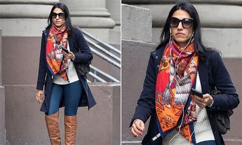 huma abedin steps   nyc  bold scarf  feb