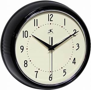 The retro black wall clock by infinity instruments metal for Black retro wall clock