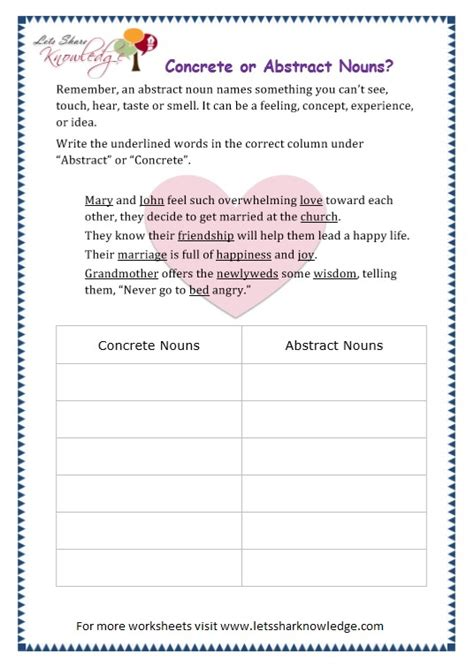 abstract nouns worksheet free worksheets library