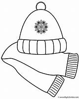 Scarf Coloring Hat Winter Clip Clipart Pages Scarves Clothes Christmas Clothing Hats Printable Template Activities Cliparts Activity Gloves Mittens Coat sketch template
