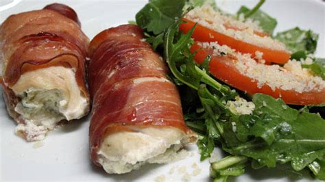 Transfer to rack, skin side up. Stuffed Chicken Saltimbocca with Arugula and Tomato Salad - Rachael Ray