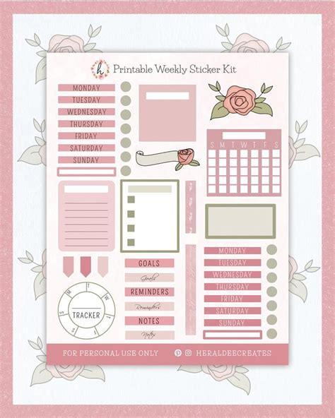 Printable Bullet Journal Kit Rose Theme Stickers ...