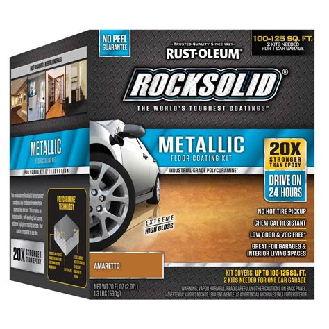 rust oleum rocksolid 70 oz amaretto metallic garage floor