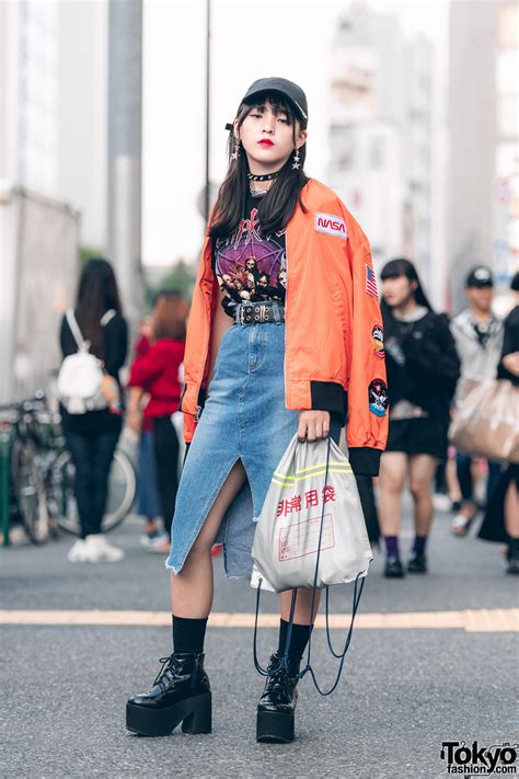japanese teen in harajuku street style w nasa bomber