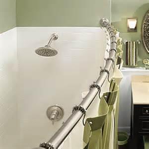 moen 174 adjustable curved brushed nickel shower rod bed