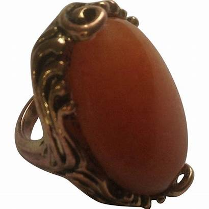 Copper Ring Stone Orange Rings Costume Rubylane