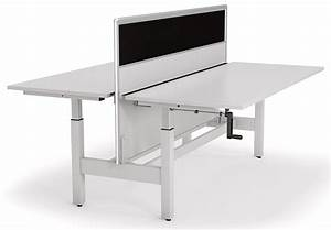 Axis Double Manual Height Adjustable Desk With Screen