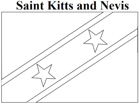 Saint Kitts And Nevis Flag Coloring Page