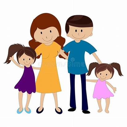 Daughters Dad Mom Clipart Happy Four Lycklig