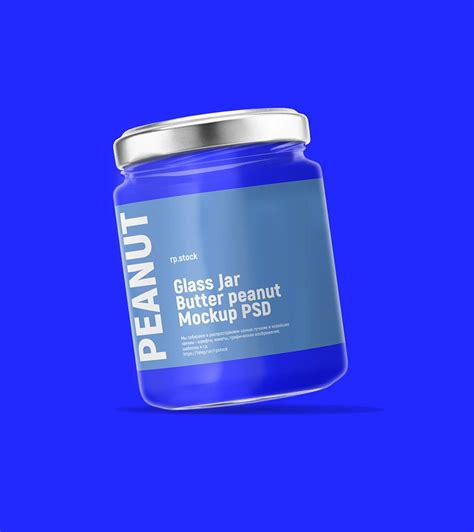 Butter jar mockup, realistic style. Free Peanut Butter Clear Glass Jar Mockup - FreeMockup.net