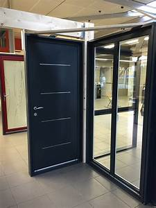 porte d39entree aluminium avec inserts inox ral 7016 gris With porte d entrée ral 7016